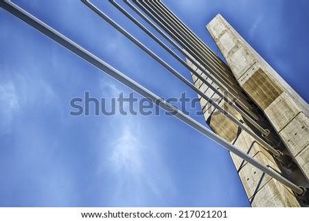 Cable stayed bridge - stock photo