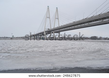 Cable stayed bridge at cloudy winter day, St.Petersburg, Russia.