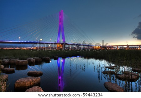 cable-stayed bridge, Sanchung city, Taipei, Taiwan - stock photo