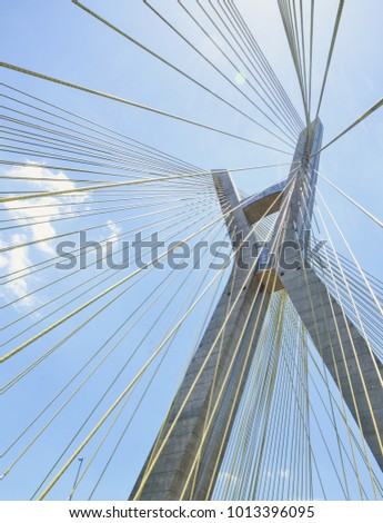 Cable-stayed bridge with sun in São Paulo Brazil