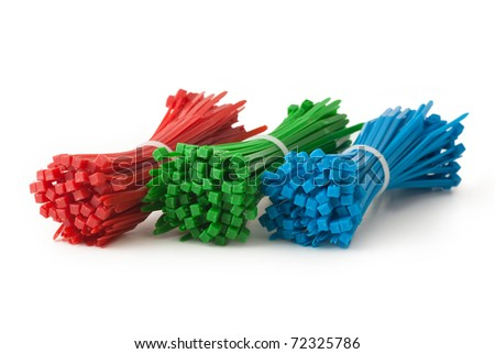 cable ties diagonal isolated on white - stock photo