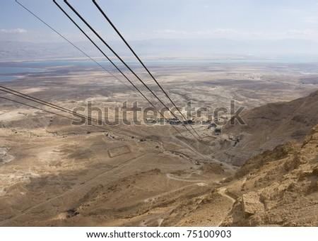 Cable to Masada, Israel. - stock photo