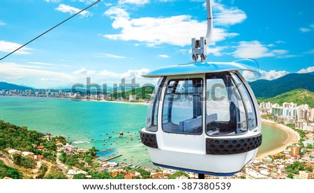 Cable way on beach - stock photo