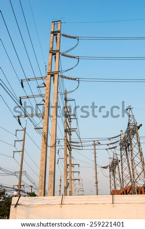 Cable wire to power plant - stock photo