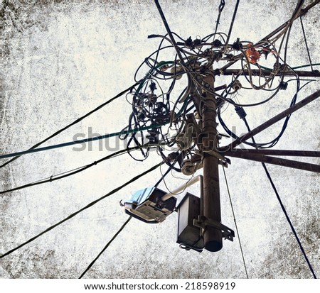 Cables and wires order and chaos on the white background - stock photo