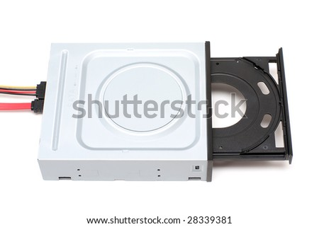 Cables connected to DVD-ROM drive - stock photo
