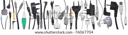Cables, connector and jacks collection on white background - stock photo
