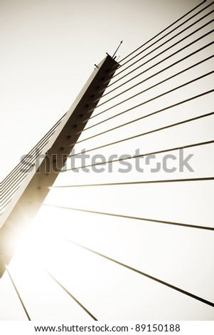 cables fixed on pillar, tight cables fix stretch with pillar . - stock photo