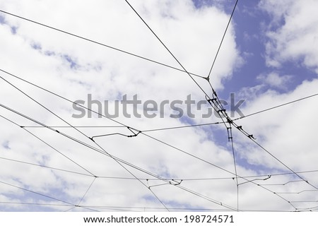 Cables tram in Lisbon, detail of electricity cables to transport the city - stock photo