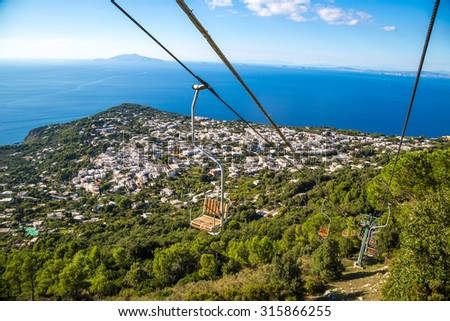 Cableway at capri island on a beautiful summer day in Italy