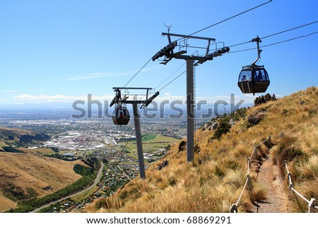 Cableway in Christchurch, New Zealand - stock photo