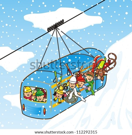 cableway in winter - stock photo