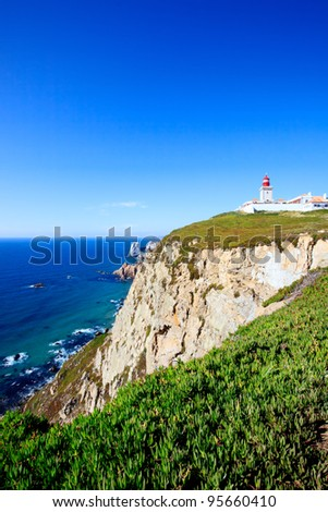 Cabo de Roca landscape, Portugal.  The westernmost extent of continental europe overlooking Atlantic Ocean.