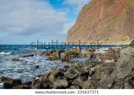 Cabo Girao cliff from below, Madeira island, Portugal - stock photo