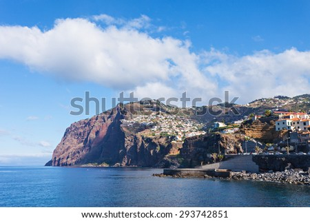 Cabo Girao is a cliff located along the southern coast of the island of Madeira, Portugal  - stock photo