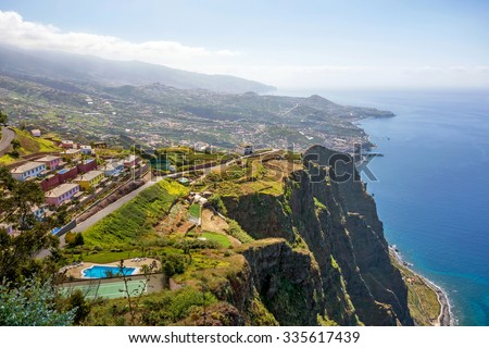 Cabo Girao on Island Madeira - viewpoint with spectacular view to impressive rocks and the atlantic ocean