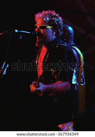 CABO SAN LUCASOCTOBER 98:Vocalist/Guitarist Sammy Hagar performs Circa October 1998 at the Cabo Wabo Cantina in Cabo San Lucas, Mexico. - stock photo