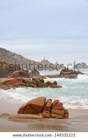 Cabo Vilan in Costa da Morte, Galicia, Spain - stock photo