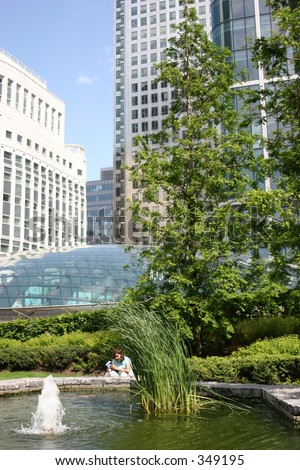 Cabot Square, Canary Wharf, Docklands - stock photo