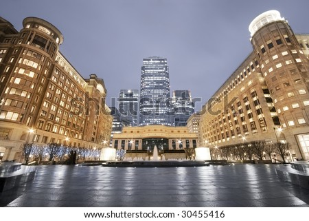 Cabot Square is one of the central squares of the Canary Wharf. This view including: Credit Suisse, Morgan Stanley, HSBC Tower, Canary Wharf Tower, Citigroup Centre, Reuters Building