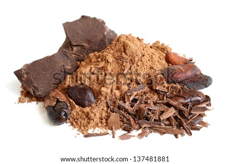 Cacao beans, cacao powder and chocolate on a white background - stock photo