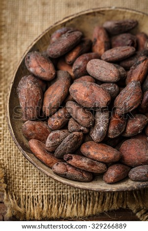 Cacao beans in a bowl - stock photo