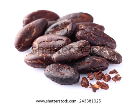 Cacao beans in closeup - stock photo