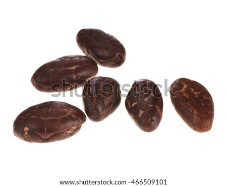 Cacao beans isolated on a white background