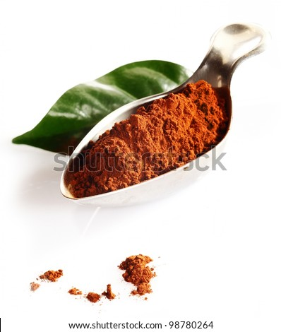 Cacao leaf and cacao powder in spoon isolated on white