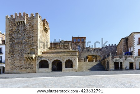 Caceres Extremadura Spain. Bujaco Tower, Chapel of Peace and bow of the Star in the Plaza Mayor.