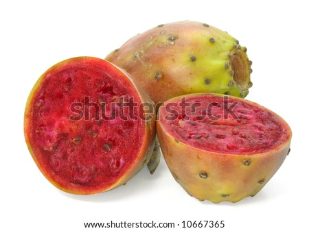 cactaceous fig isolated on white background - stock photo