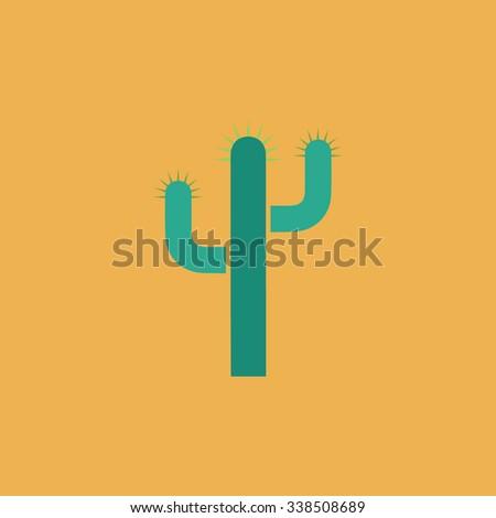 Cactus. Colored simple icon. Flat retro color modern illustration symbol - stock photo