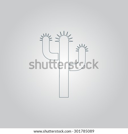Cactus. Flat web icon or sign isolated on grey background. Collection modern trend concept design style  illustration symbol - stock photo