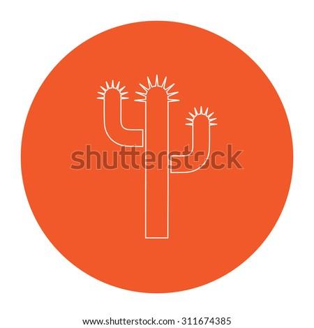 Cactus. Flat white symbol in the orange circle. Outline illustration icon - stock photo