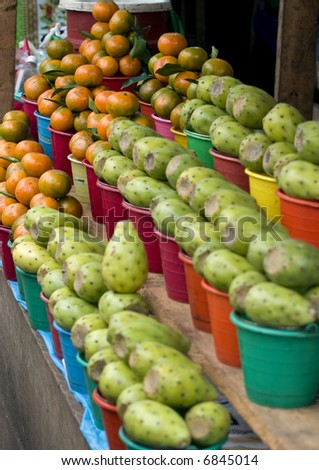 Cactus fruits and Mandarins in a Market in Chiapas Mexico - stock photo