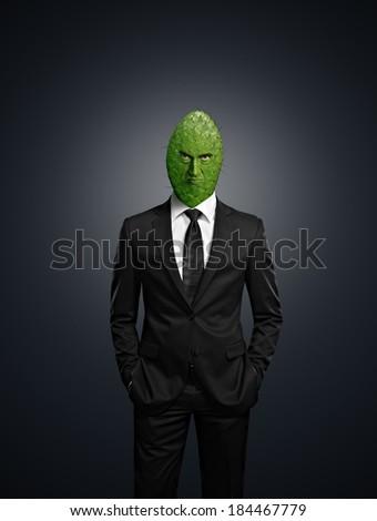 Cactus head businessman - stock photo