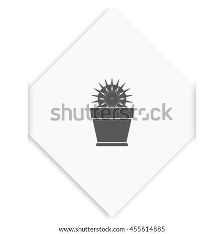Cactus icon. Flat pot illustration. - stock photo