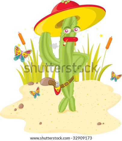 cactus man (vector illustration available in portfolio)