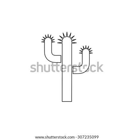Cactus. Outline black simple symbol - stock photo