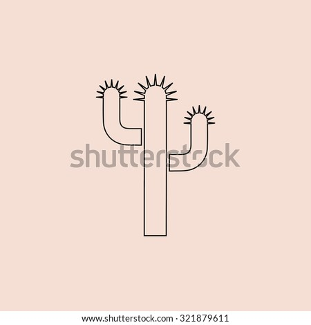 Cactus. Outline icon. Simple flat pictogram on pink background - stock photo