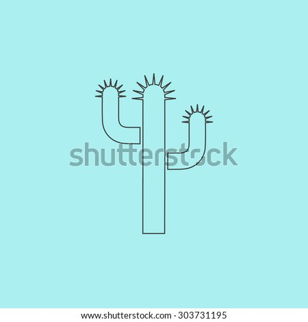 Cactus. Outline simple flat icon isolated on blue background - stock photo