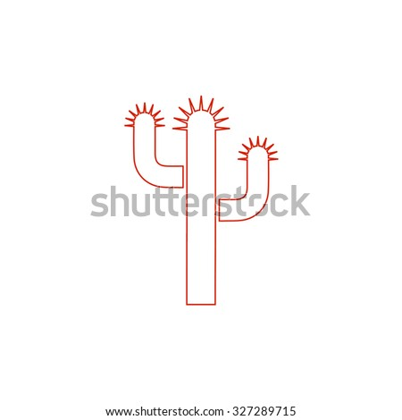 Cactus. Red outline illustration pictogram on white background. Flat simple icon - stock photo
