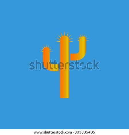 Cactus. Simple flat icon on blue background - stock photo