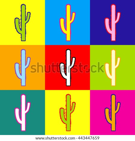 Cactus simple icon. Pop-art style colorful icons set with 3 colors. - stock photo