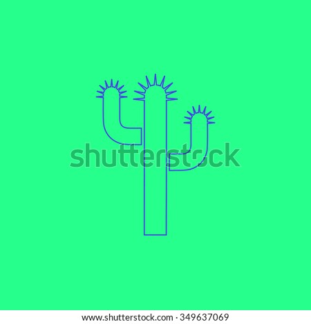 Cactus. Simple outline illustration icon on green background - stock photo