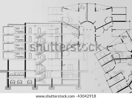CAD Architectural Plan Drawings Illustration