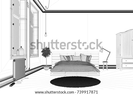 CAD Bedroom Draft Planning Interior Design Stock Illustration