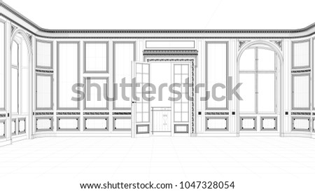 CAD Drawing Of Hall With Stucco And Balcony In An Old Apartment 3D Rendering