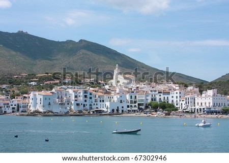 Cadaques, a small coastal town, is the people of the Catalan painter Salvador Dali. The Church of Cadaques is a symbol in the village.  Costa Brava, Spain - stock photo