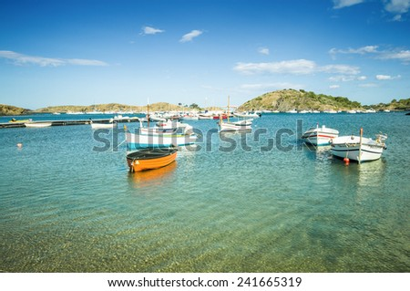 CADAQUES, SPAIN - JULY 21: View of Cadaques, one of the most touristic villages of Costa Brava, on July 21, 2014, in Port de la Selva, Catalonia, Spain. It is on a bay in the middle of the Creus Cape. - stock photo